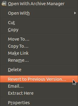 Deja Dup in right-click menu