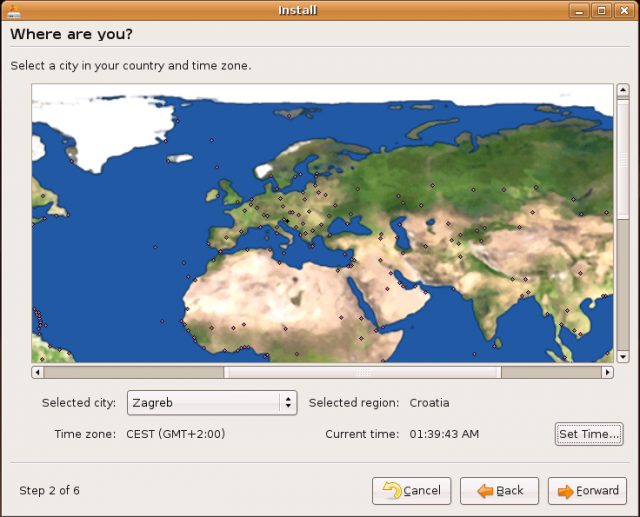 Ubuntu Install: location selection
