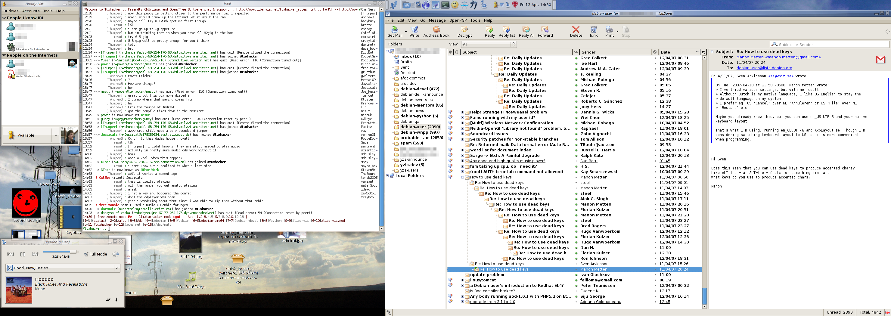 random screen shot - debian gnu/linux sid w/ gnome
