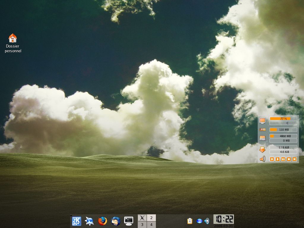 A heavily modified KDE desktop on FC5
