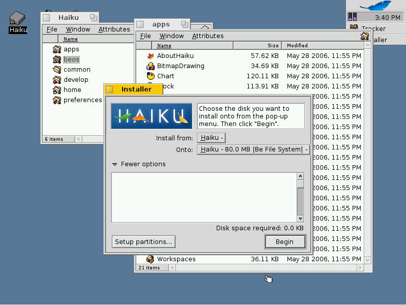 Haiku OS Installer in Qemu