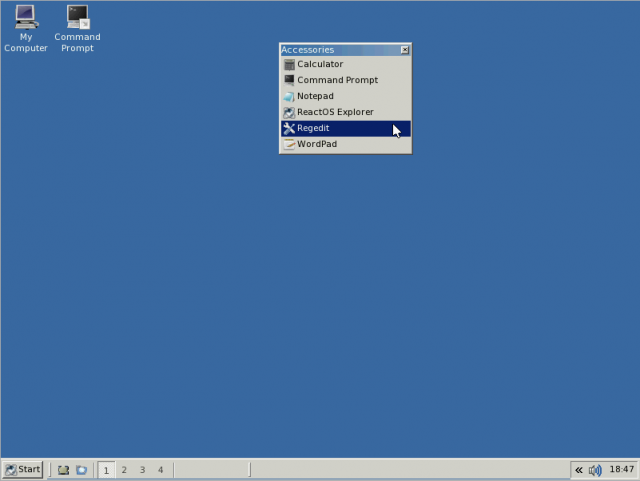 Detached menu on React OS desktop