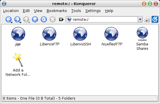 Konqueror network folders