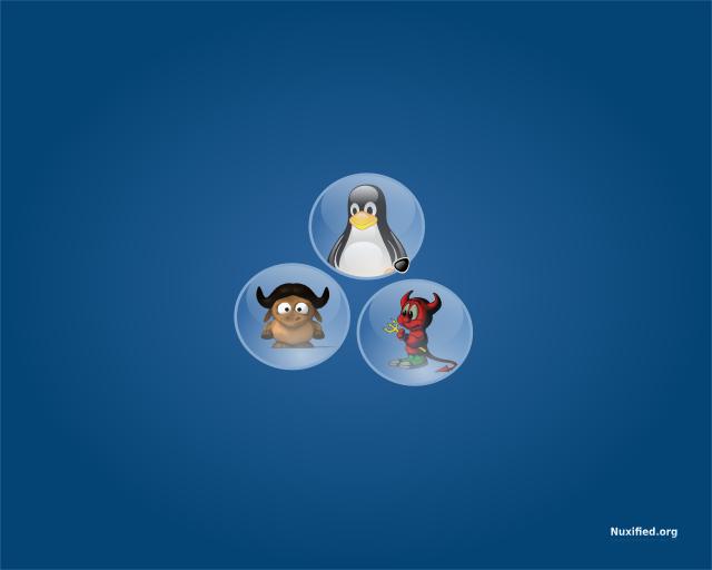 Nuxified Desktop Trio Wallpaper