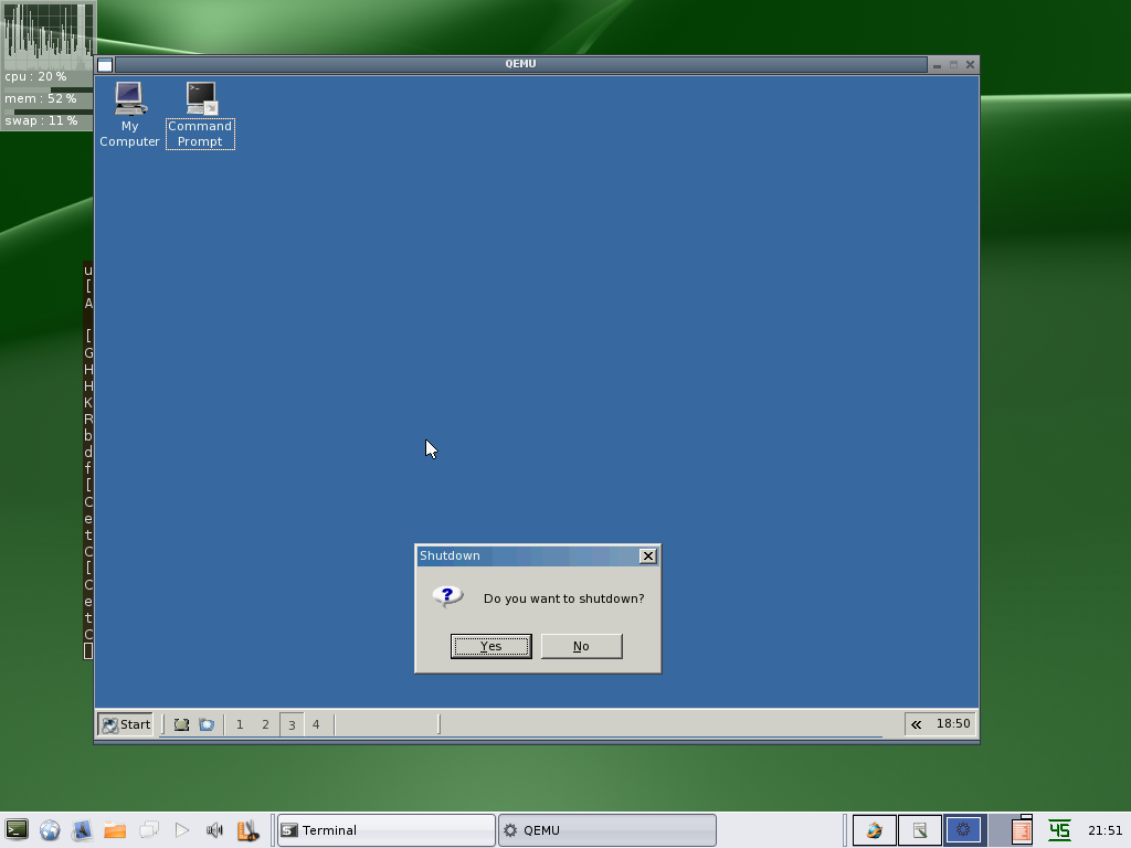 ReactOS desktop in Qemu