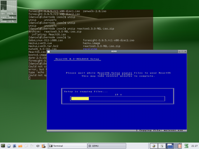 ReactOS installer in qemu