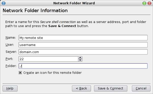 Konqueror network folders wizard connection info
